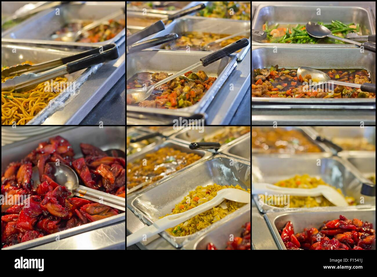 Chinese food buffet self service lunch or dinner collage for Asian cuisine buffet