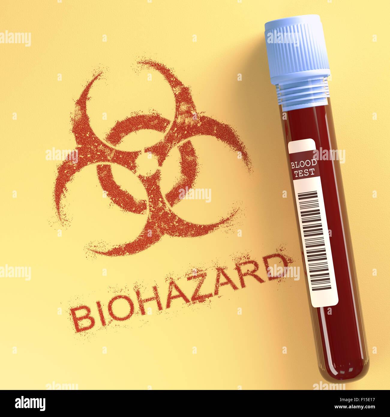 Test tube with contaminated blood symbol on paper indicating test tube with contaminated blood symbol on paper indicating danger clipping path included buycottarizona Images