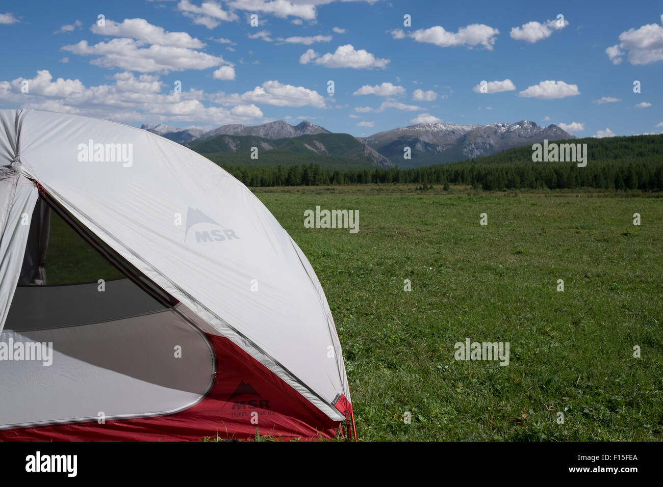 MSR Hubba Hubba NX tent in northern Mongolia & MSR Hubba Hubba NX tent in northern Mongolia Stock Photo Royalty ...