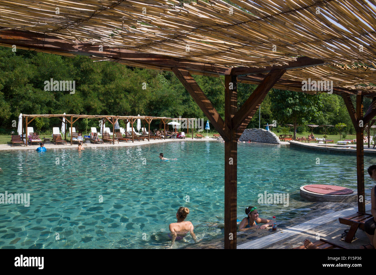 Swimming Pool Minerals : Open air thermal mineral water spring swimming pool in