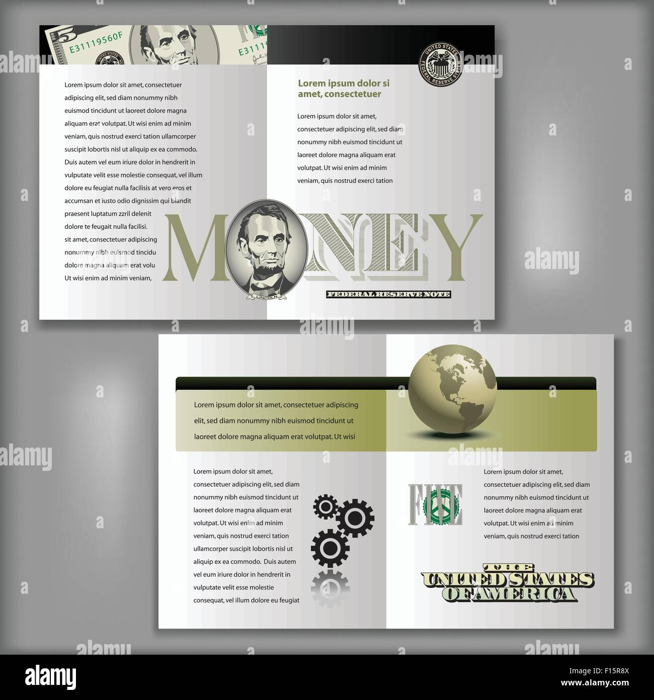 Four Page Brochure Layout Template With Money Elements Stock - Four page brochure template