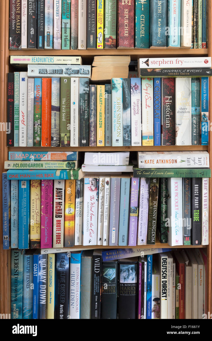 Overfull Bookcase Containing an Eclectic Collection of