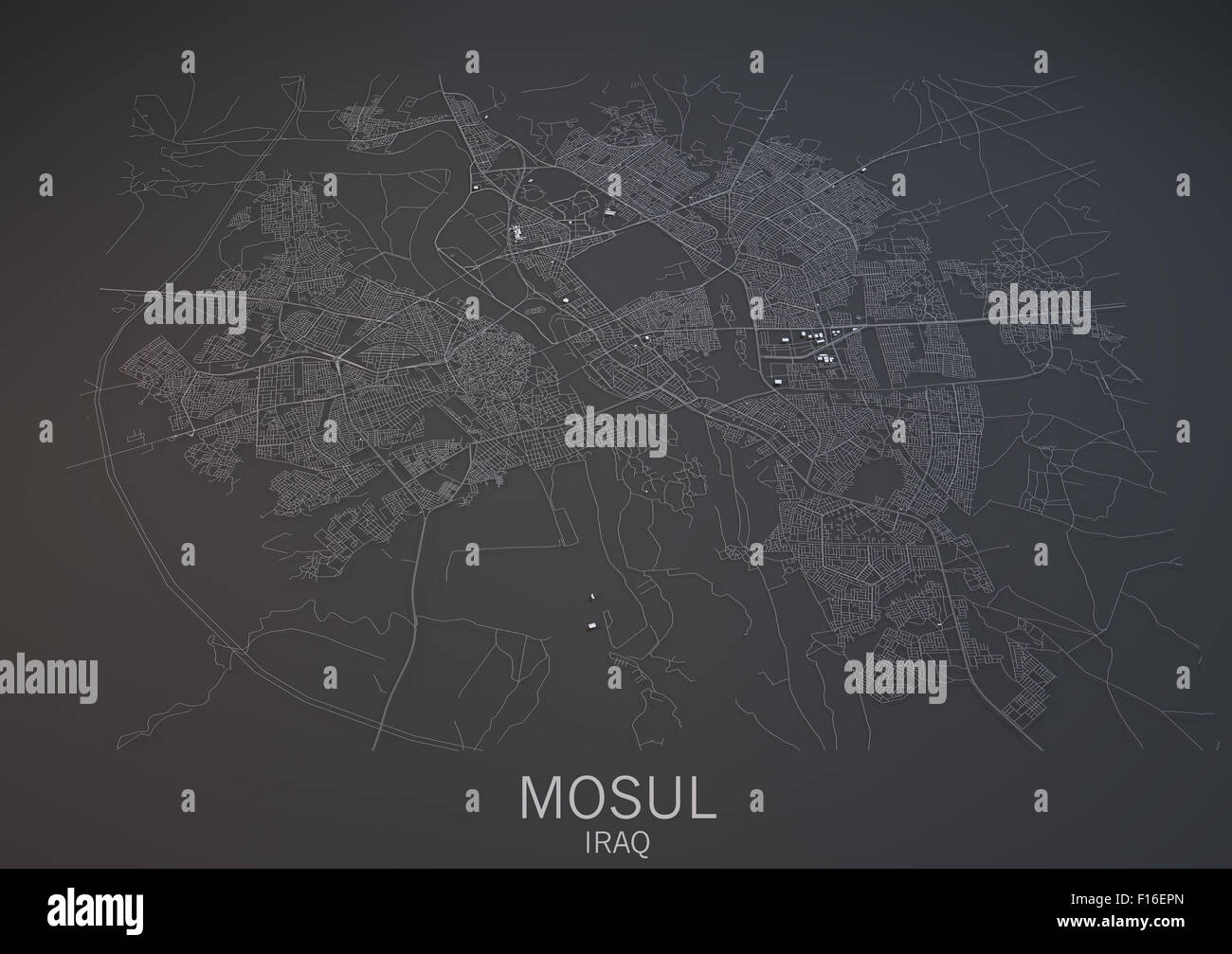 Map Of Mosul Iraq Satellite View Map In D Black And White - Satellite view