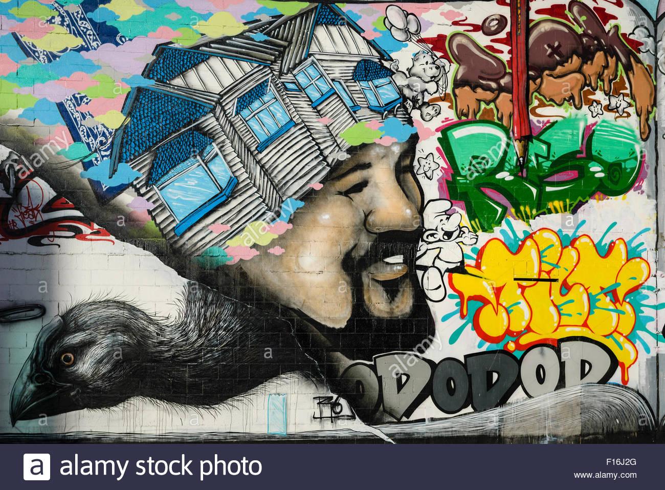 Graffiti wall christchurch - Mural On Wall In Devastated Downtown Christchurch