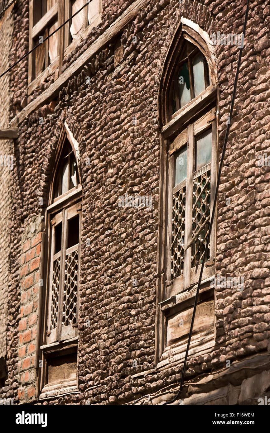 India jammu kashmir srinagar fateh kadal gothic arched windows of colonial era house