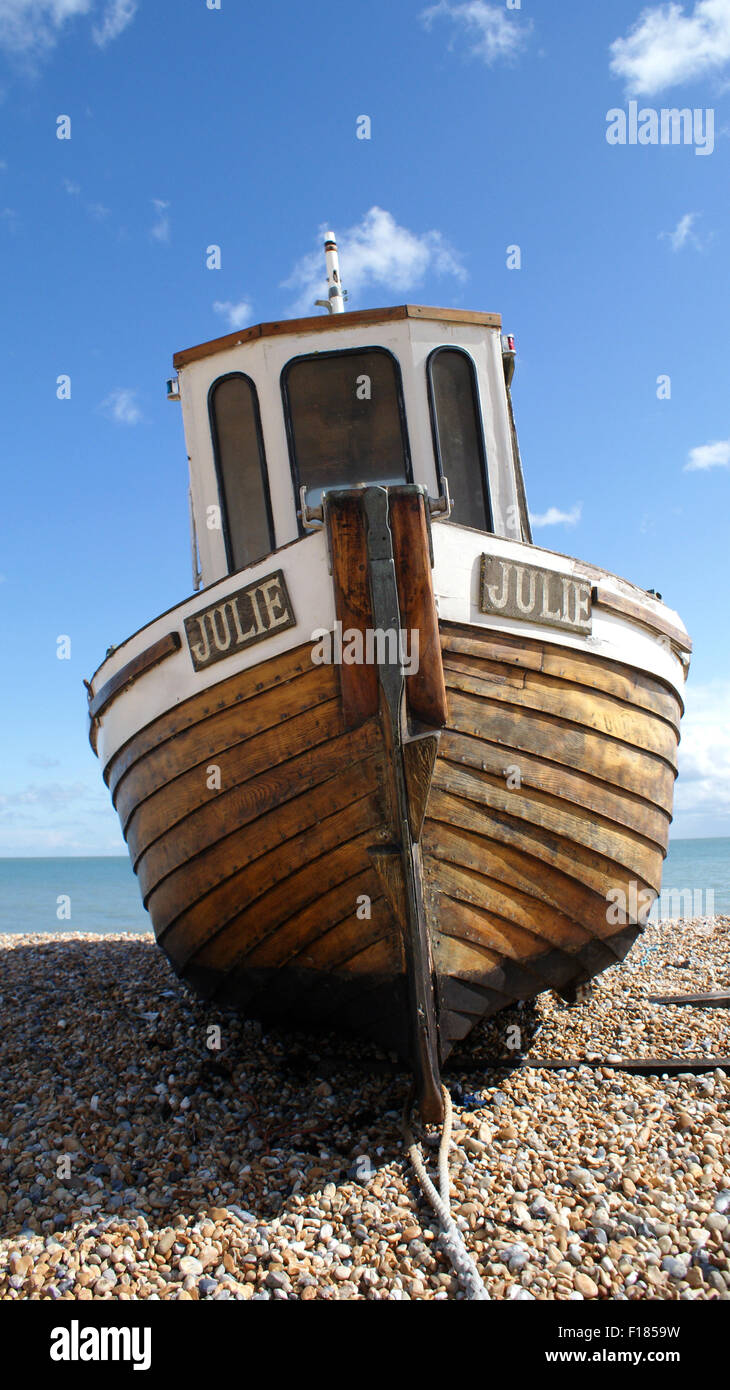 Front View Of An Old Fishing Boat Named Julie In Walmer Deal Kent
