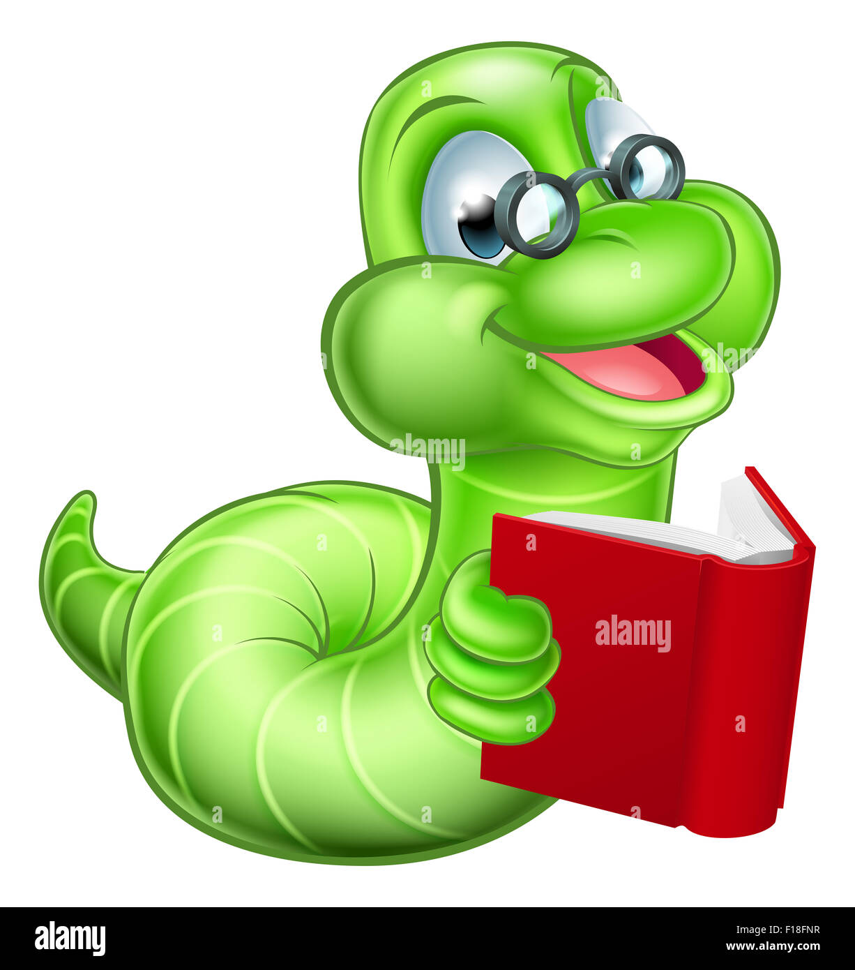 Cute smiling green cartoon caterpillar worm bookworm with glasses ... for Clipart Cute Caterpillar  545xkb