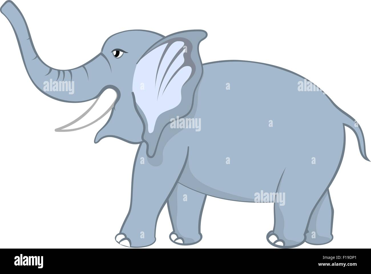 funny cartoon character elephant with smile and raised trunk over