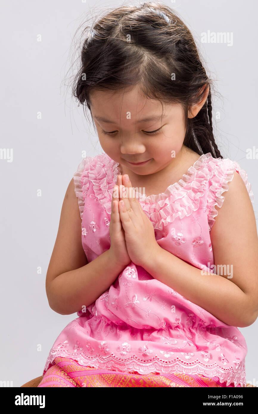 thai child Stock Photo - Thai child in traditional Thai costume on white background