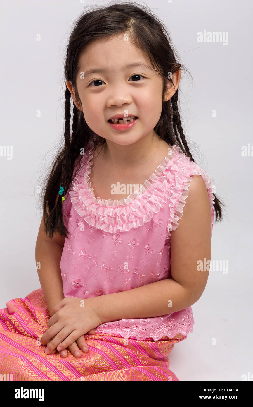thai child Thai child in traditional Thai costume on white background