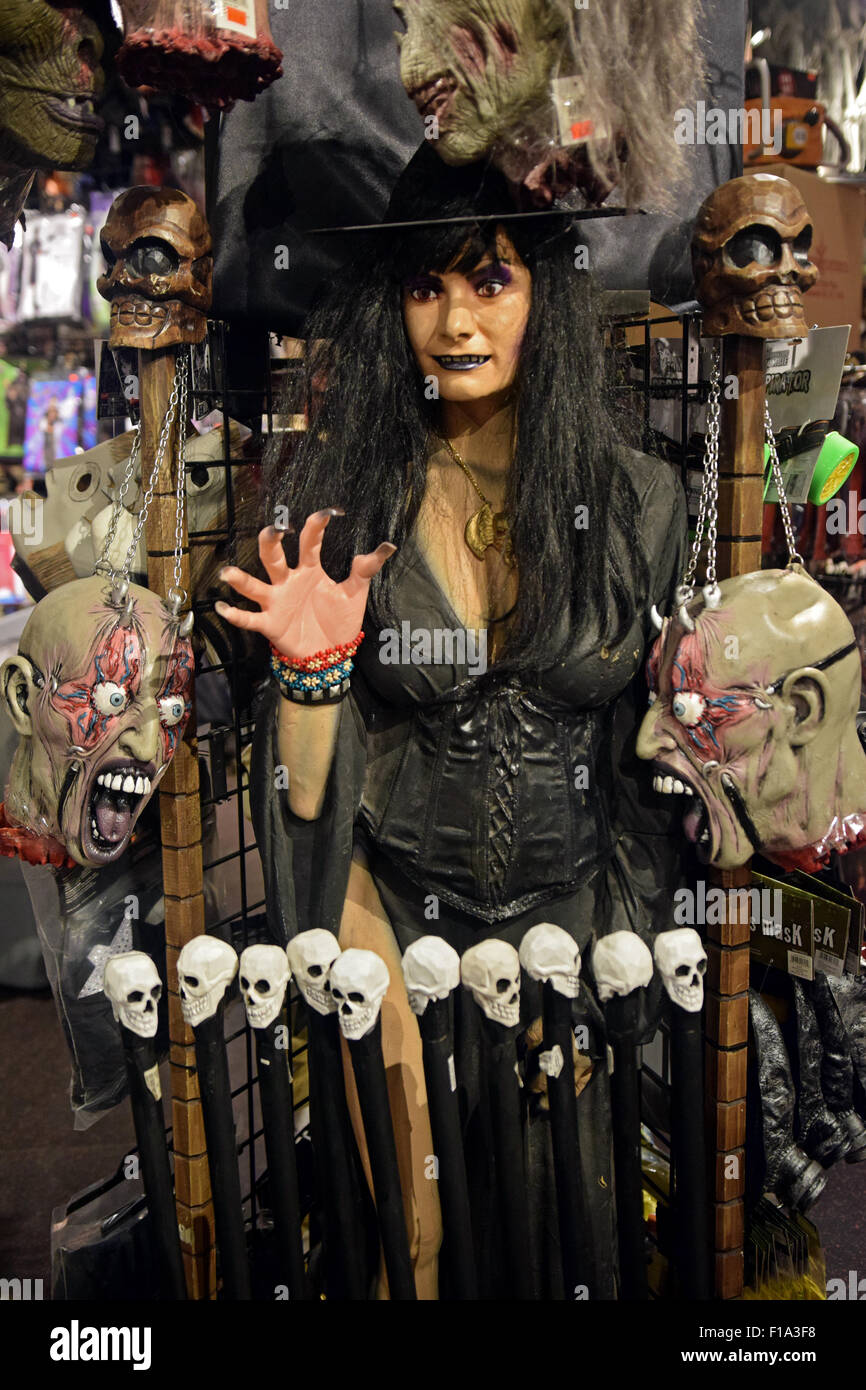 A mannequin wearing a scary outfit for sale at a large costume ...