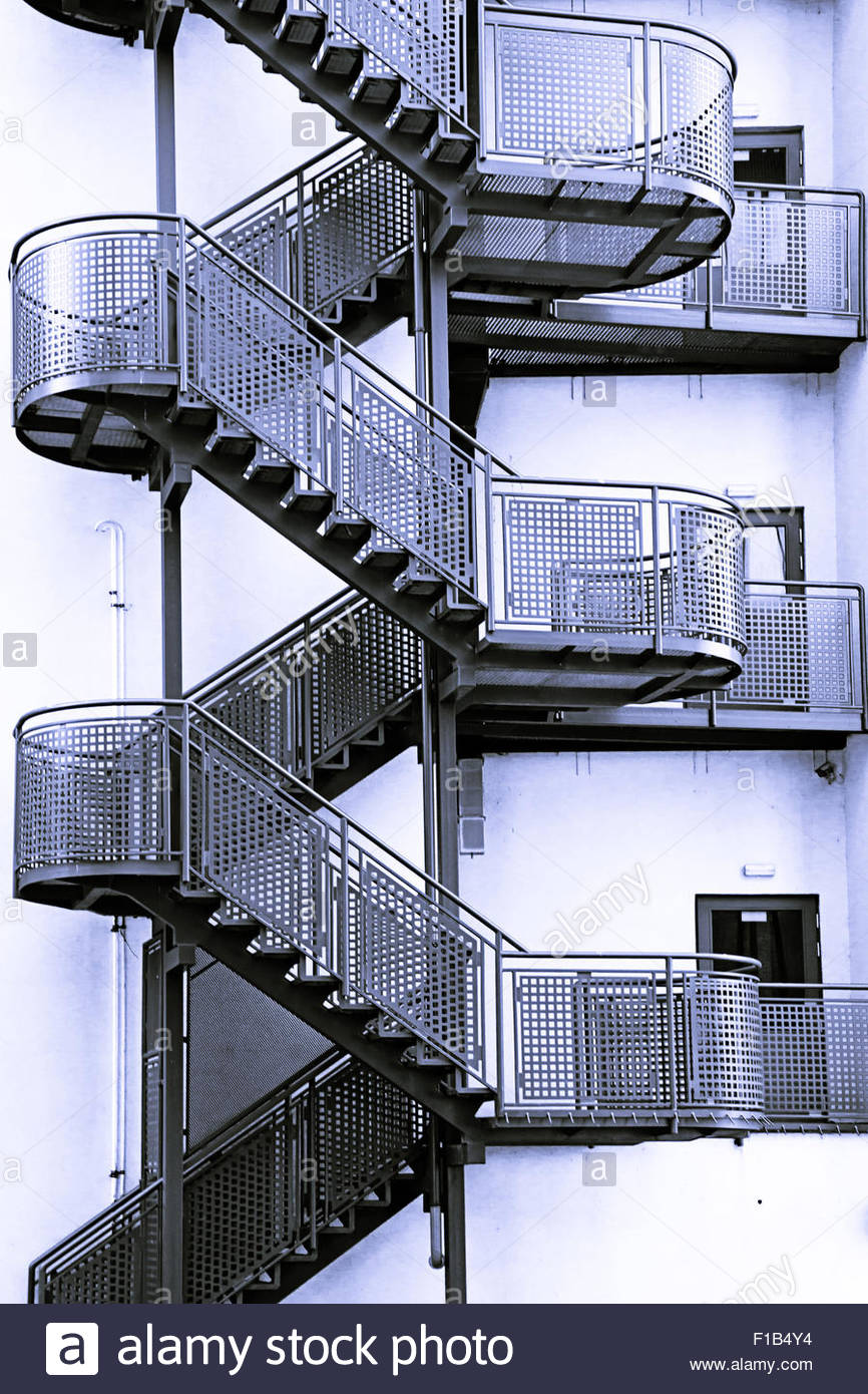 Stock Photo   Modern Metal Staircase Outside A Building