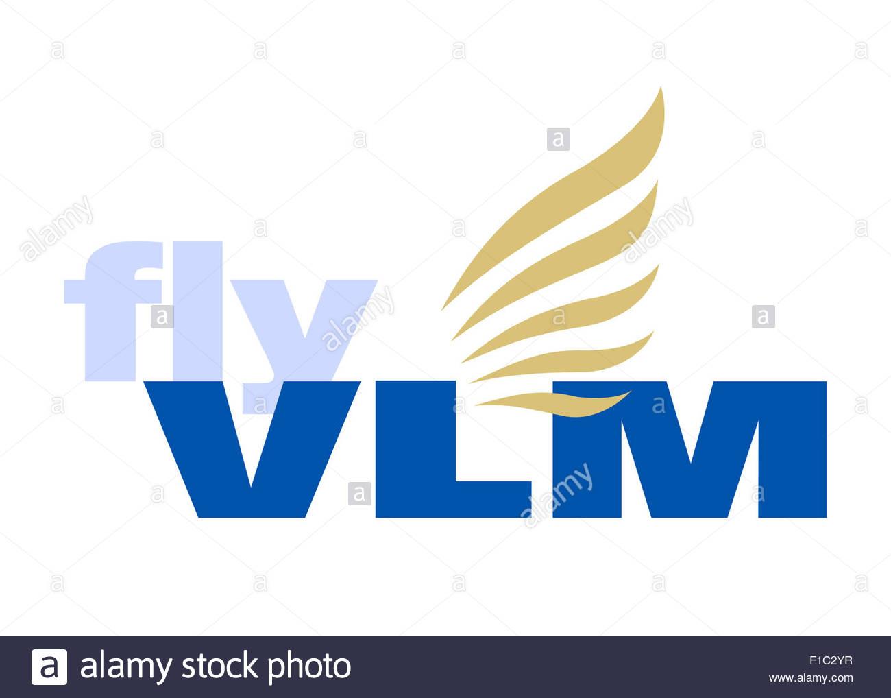 vlm fly airlines logo icon symbol flag emblem sign stock