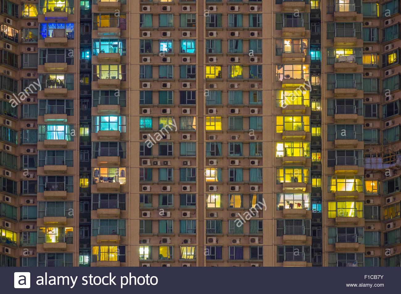 Apartment Building At Night residential apartment building at night, tsim sha tsui, kowloon