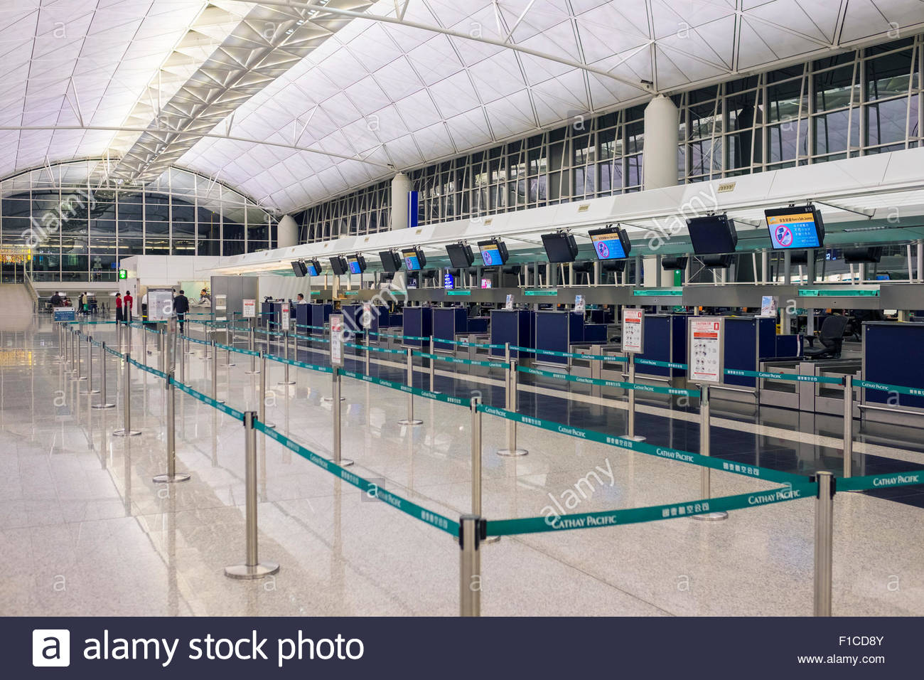 empty departures area at hong kong international airport. Black Bedroom Furniture Sets. Home Design Ideas