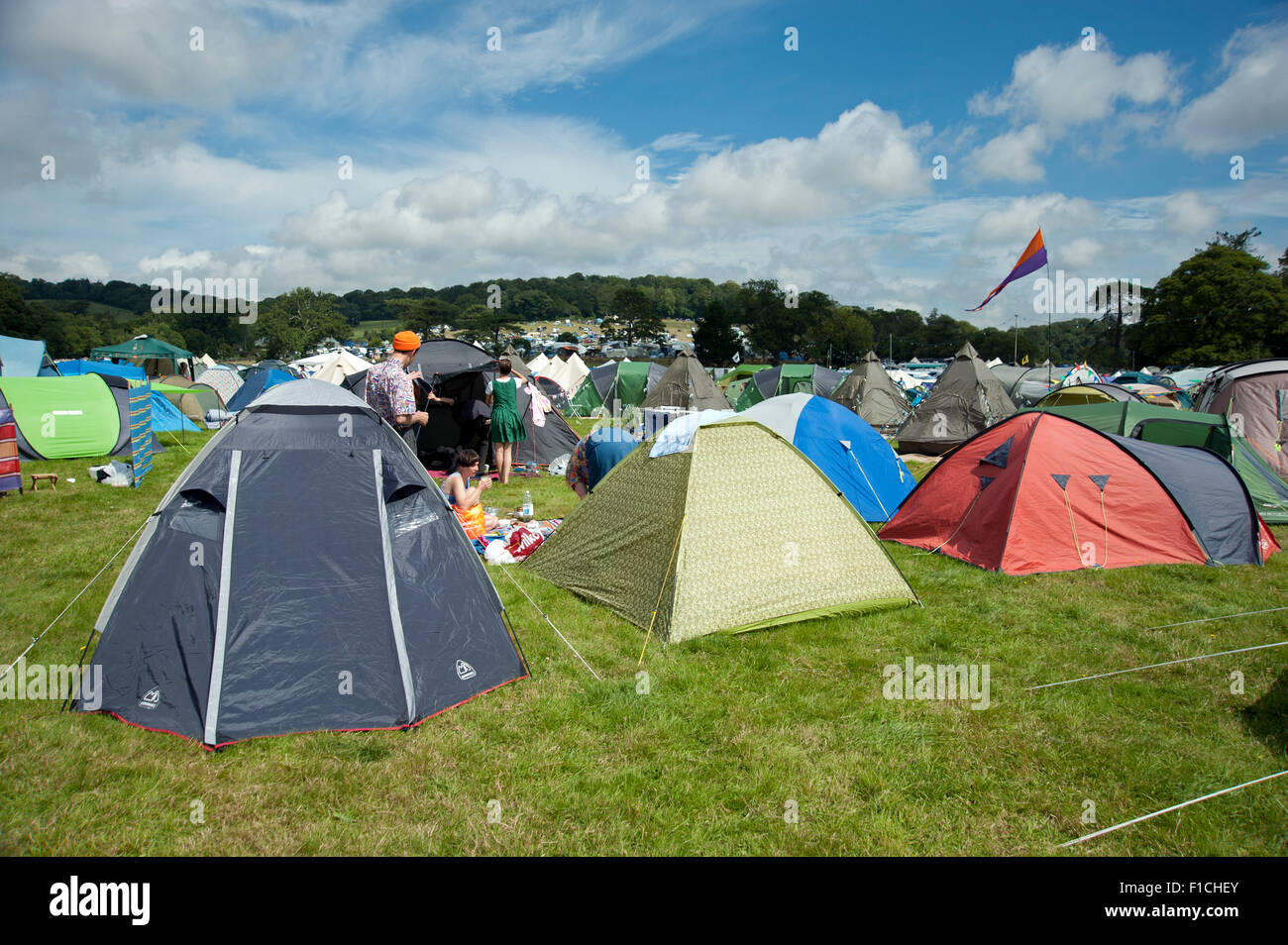 A field of colourful tents in the c&site at the Port Eliot festival Cornwall & A field of colourful tents in the campsite at the Port Eliot Stock ...