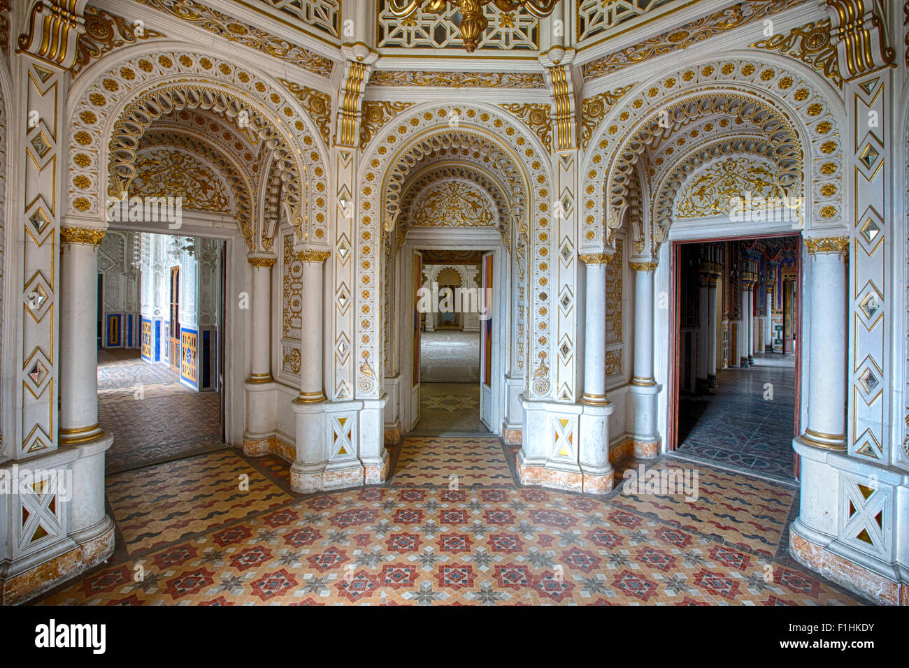 moorish style palace interior architecture stock photo