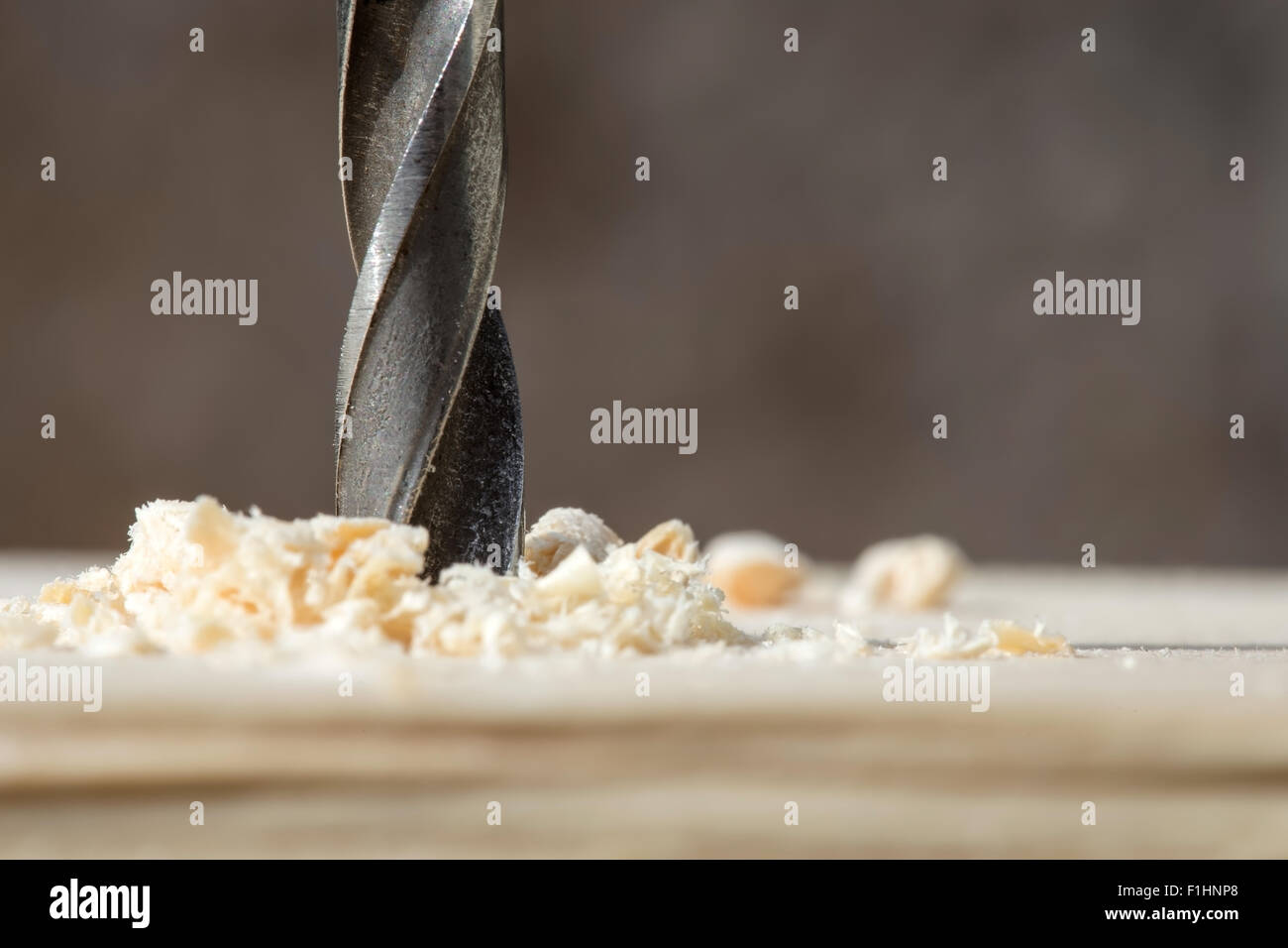 drill with sawdust closeup tools for construction stock photo
