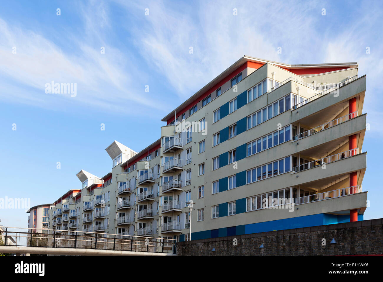 modern apartments in bristol harbour, bristol, looking like a ship