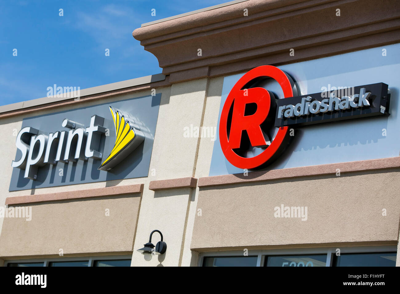 Sprint logo stock photos sprint logo stock images alamy a logo sign outside of a joint sprint and radioshack store in kansas city kansas biocorpaavc Image collections