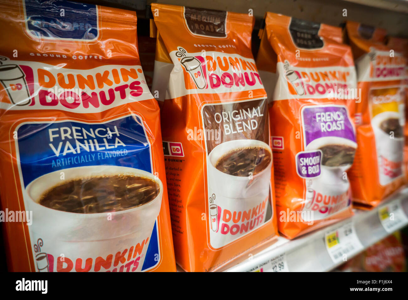 folgers coffee stock photos folgers coffee stock images alamy a display of dunkin donuts coffee on a supermarket shelf in new york on saturday