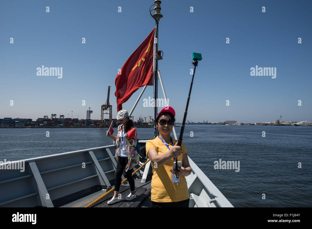 Alexandria, Egypt 2nd Sep, 2015 Chinese Tourists Take Photos On The Deck  Of 052c Missile Equipped Destroyer Ji Nan At The Port Of Alexandria,