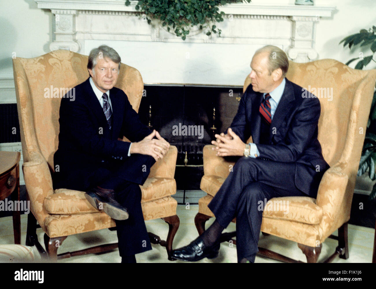 jimmy carter oval office. United States President Gerald R. Ford, Right, Meets U.S. Elect Jimmy Carter, Left, In The Oval Office Of White House Washington, Carter