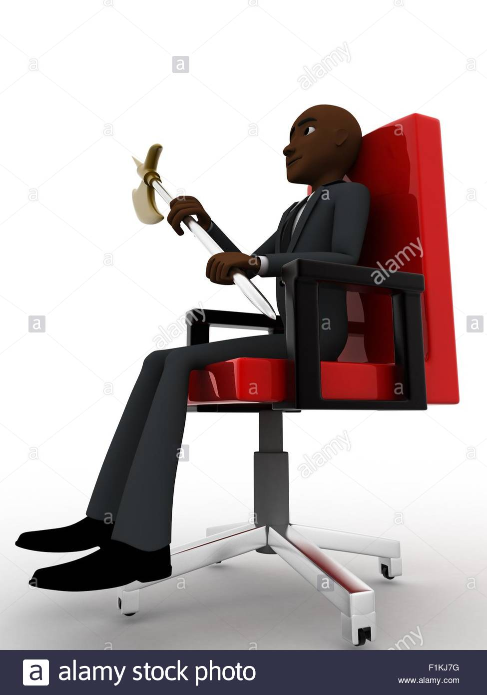 Man sitting in chair side - 3d Man Sitting On Red Chair With Axe Concept On White Background Side Angle View