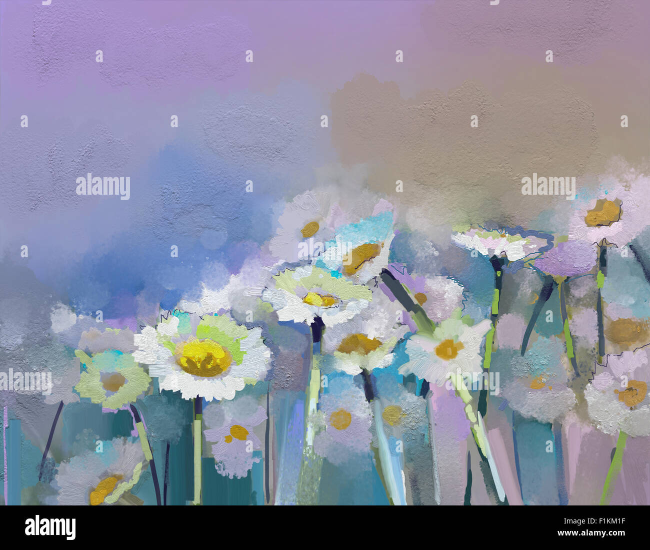 Abstract oil painting white flowers field in soft color Oil Stock Roy