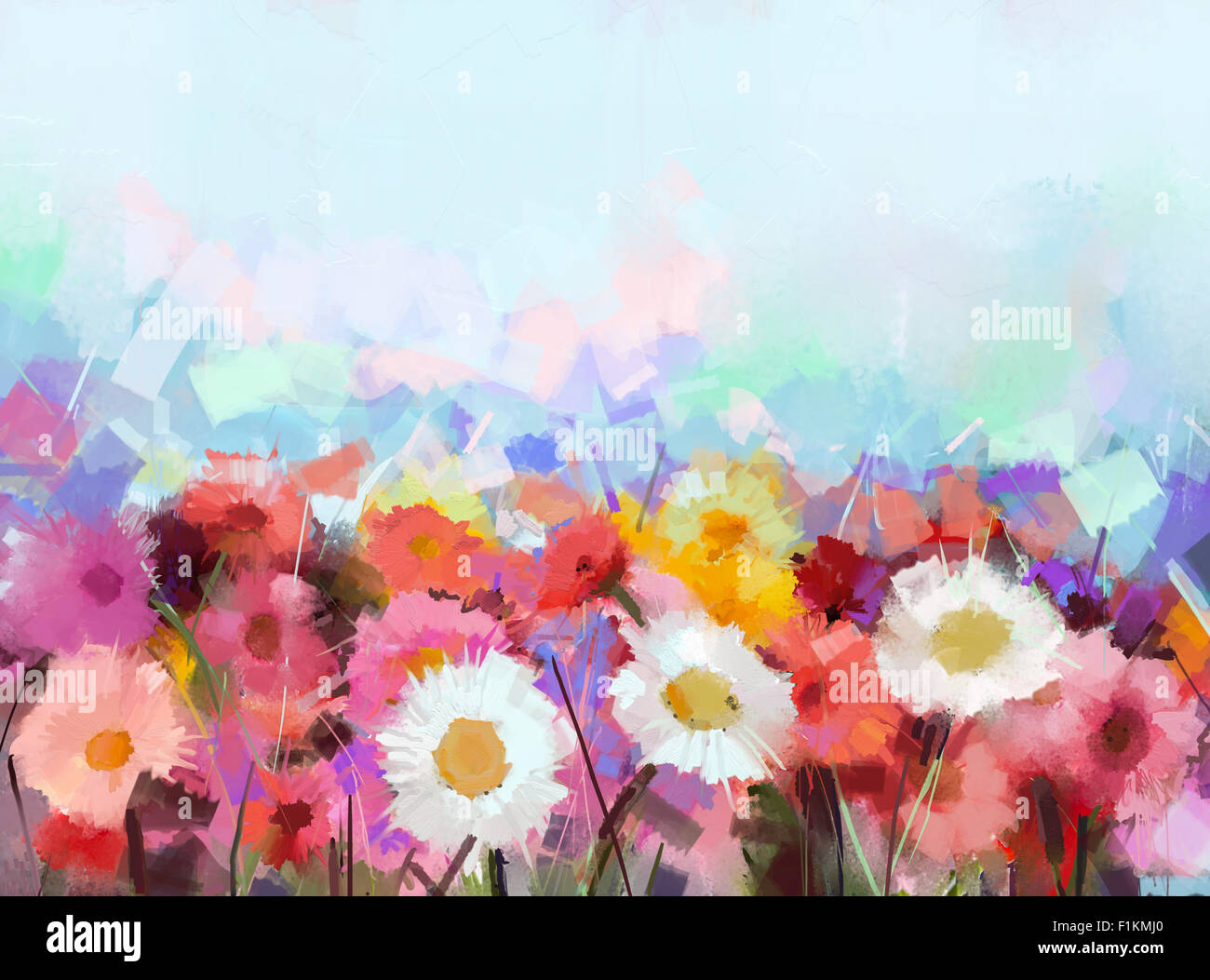 Oil painting flowers daisy gerbera flower in fields for How to oil paint flowers