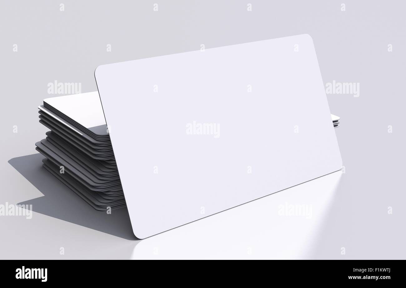 White Blank Business Cards Mockup. Rounded Corners 3D Business ...