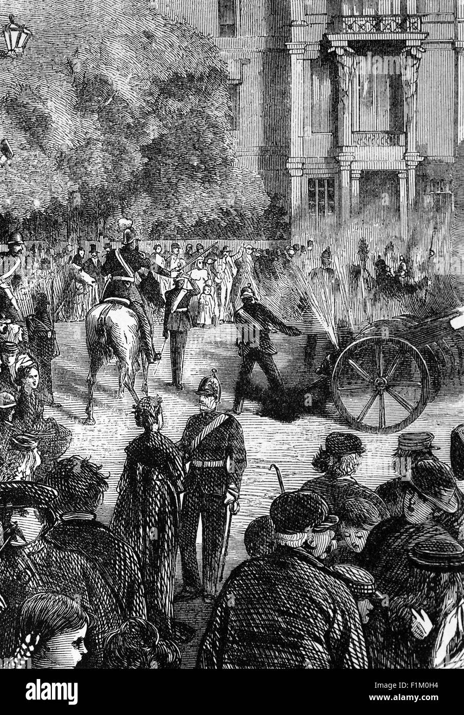 Whalers in action wood engraving published in 1855 stock illustration - Firing Cannon Salvos In Berlin Germany During The Franco German War Of 1870