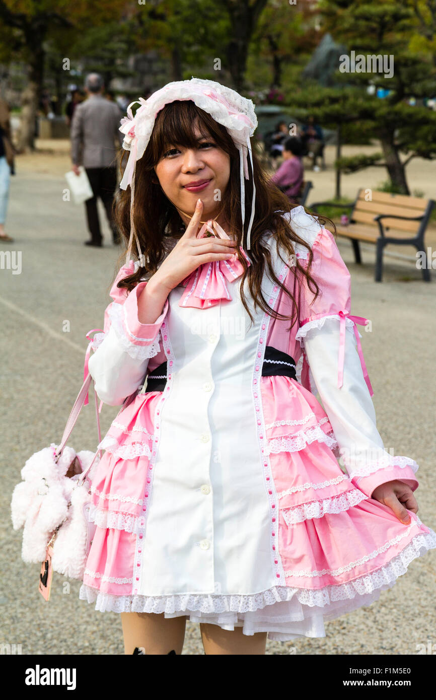 12 year lolita porn Japanese Cosplay Lolita fashion, girl posing in park - Stock Image