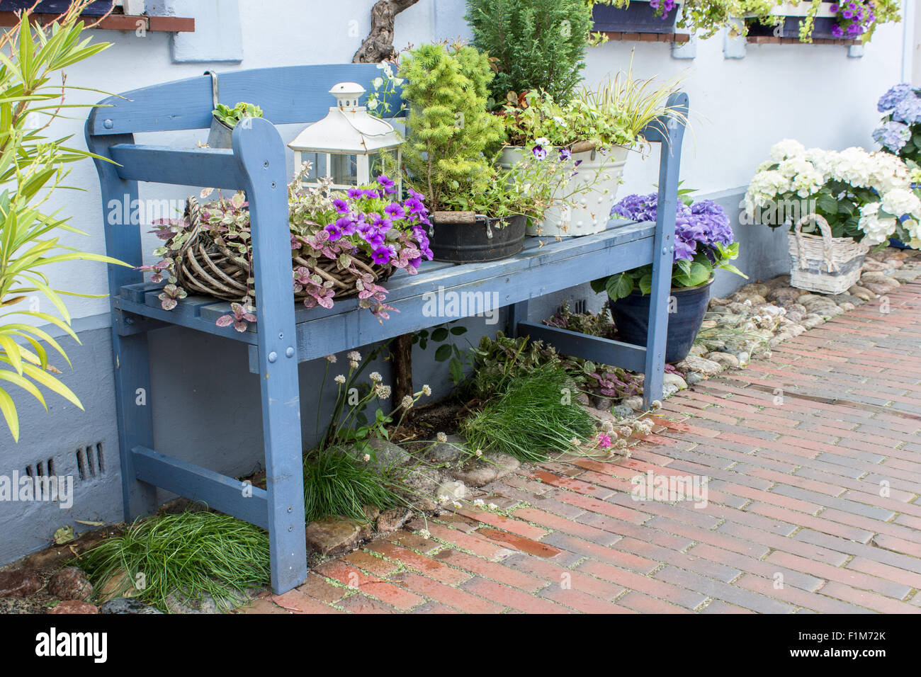 blue garden bench in front of the house with flowers and