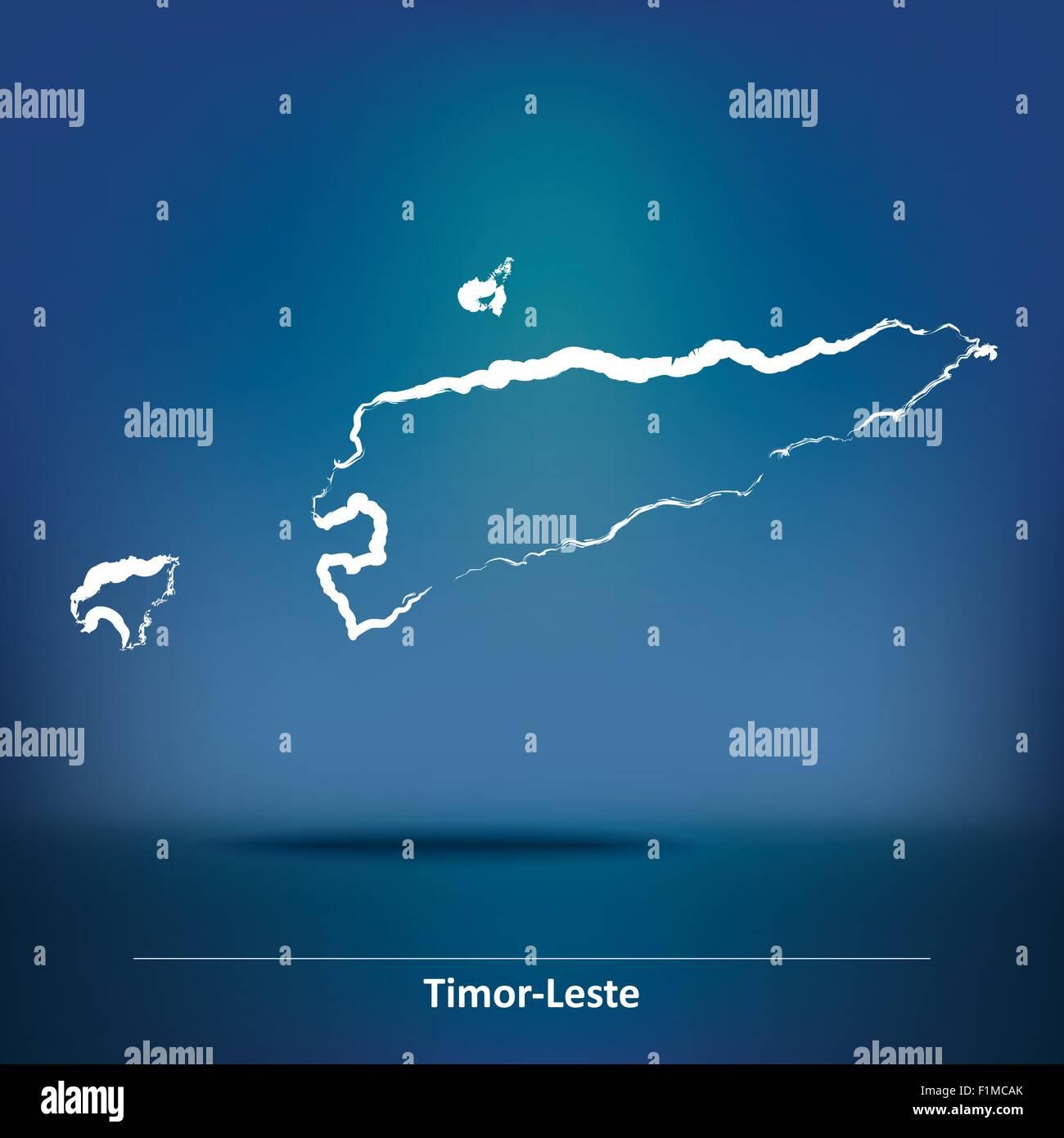 Doodle Map Of TimorLeste Vector Illustration Stock Vector Art - East timor seetimor leste map vector
