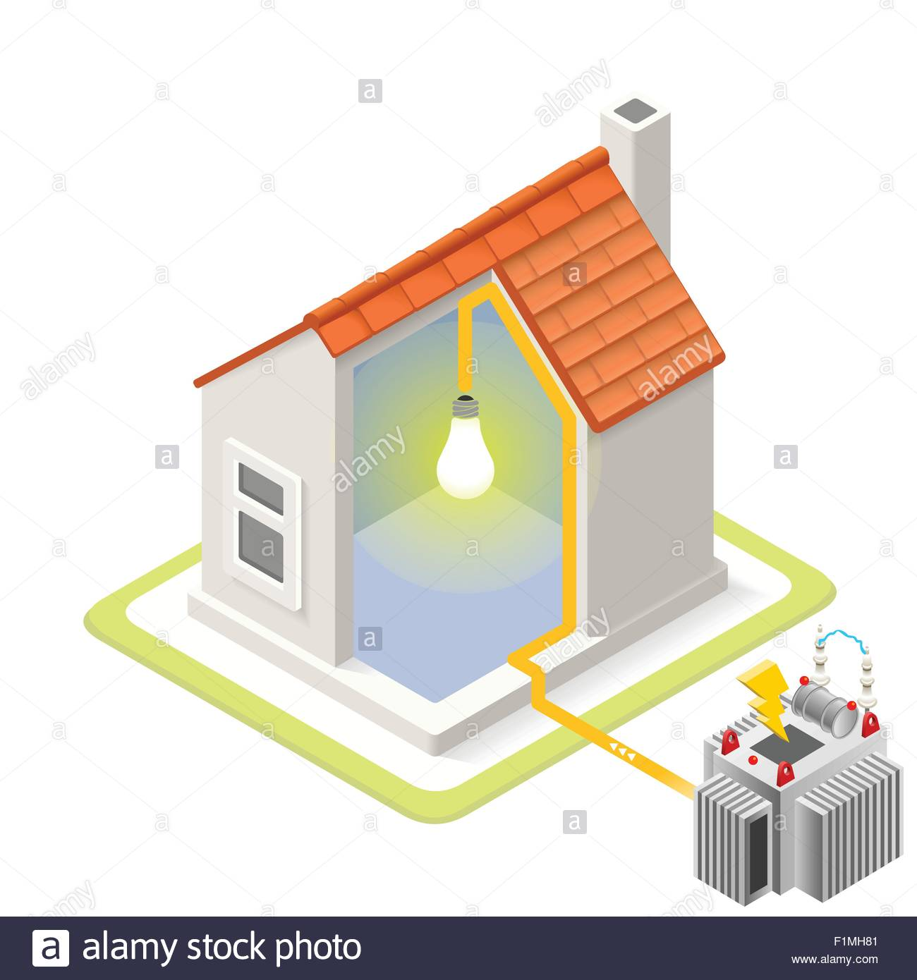 Electric grid infographic icon concept isometric 3d for 3d diagram maker online
