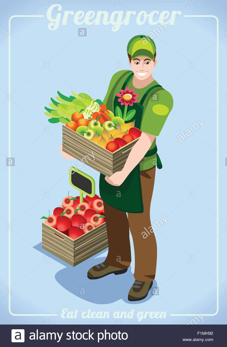 greengrocer fresh food agriculture logo company grocery careers greengrocer fresh food agriculture logo company grocery careers people unique isometric realistic poses new