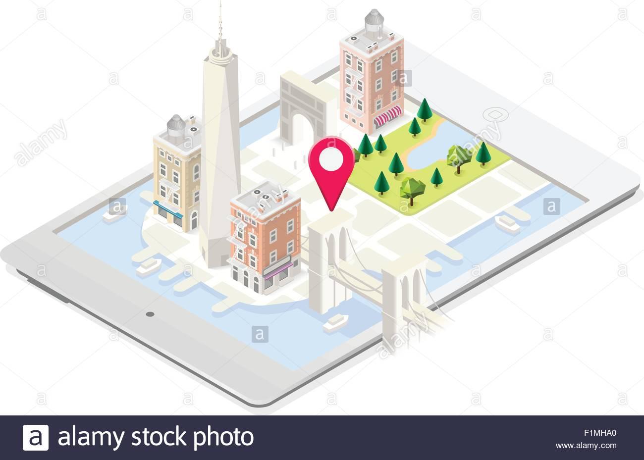 NYC In A Tablet Landmarks Isometric D Flat Landmark New York - New york map in 3d