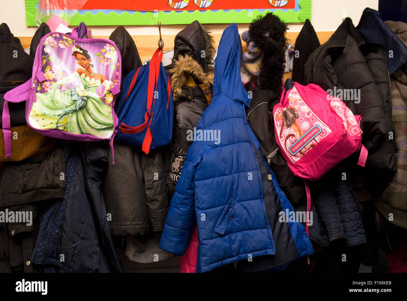 Primary School Pupils 39 Coats Hanging Up On Coat Hooks In