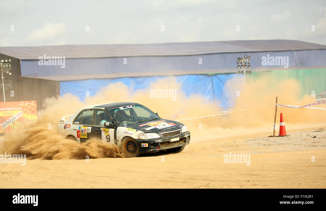Cars Drifting In Mud At The Autocross Bangalore India Stock