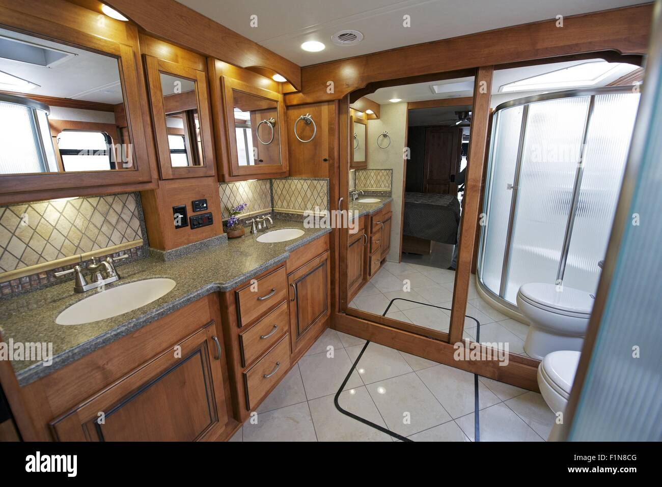 Luxury rv interior - Luxury Motorhome Rv Bathroom Interior Large Coach Bathroom