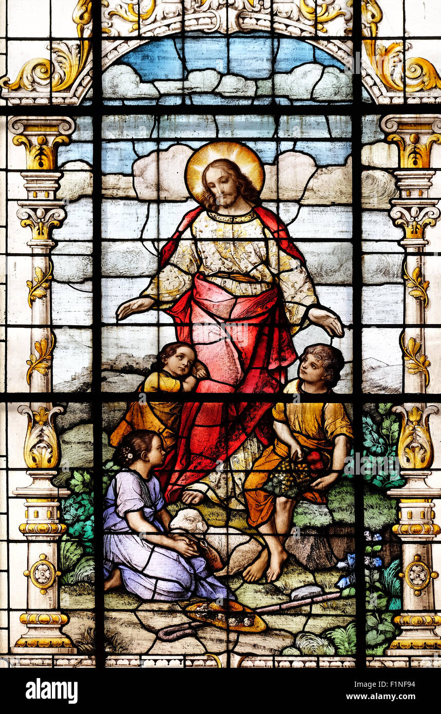 jesus friend of the children stained glass window in the basilica