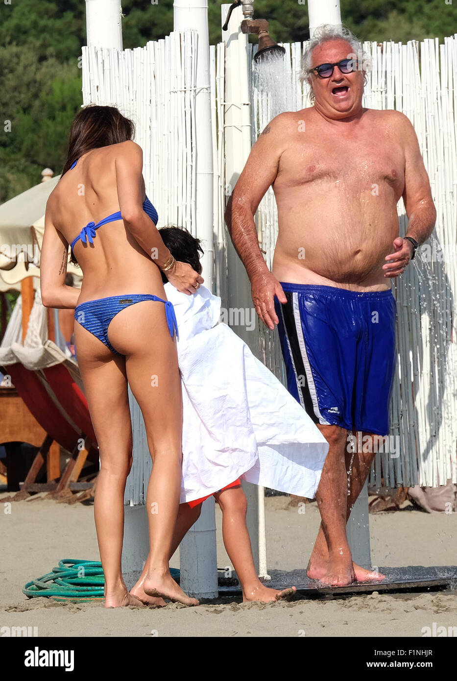Flavio Briatore and his wife Elisabetta Gregoraci enjoy a ...