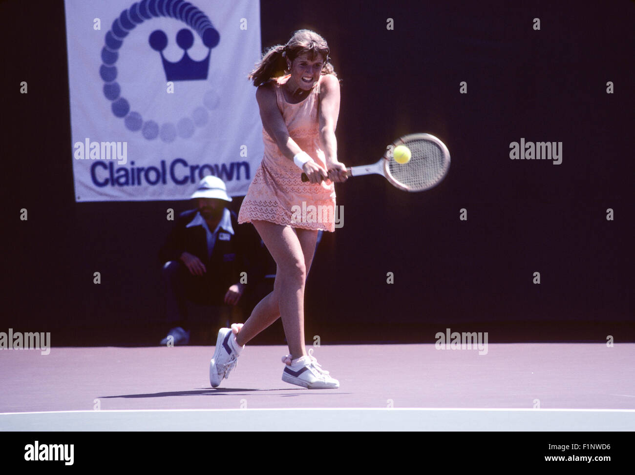 Tracy Austin in action at the Clairol Crown tennis tournament at