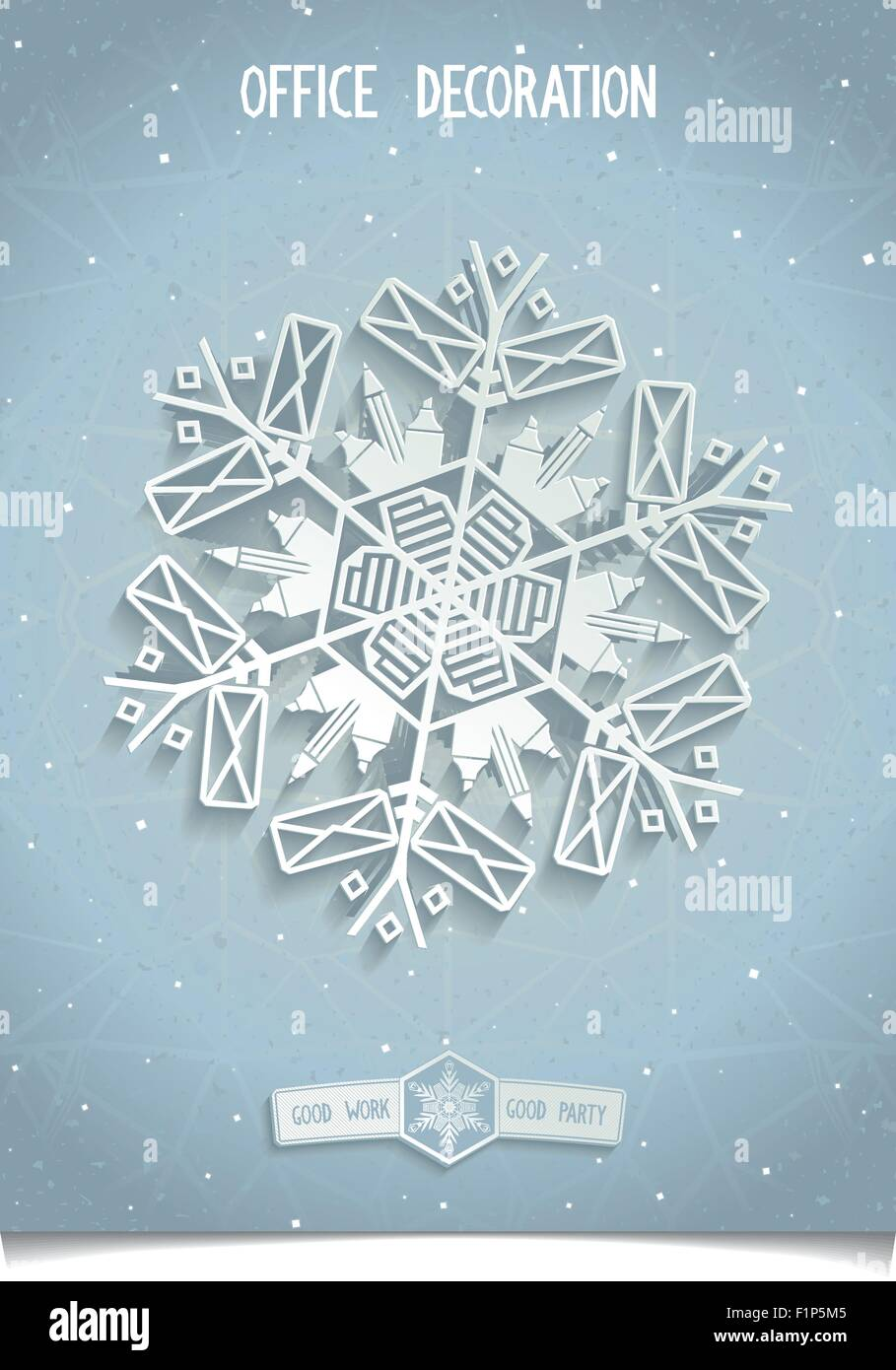 Christmas Decorations Snowflakes Making Of Office Supplies. Design Elements  For Corporate Identity For Your Office