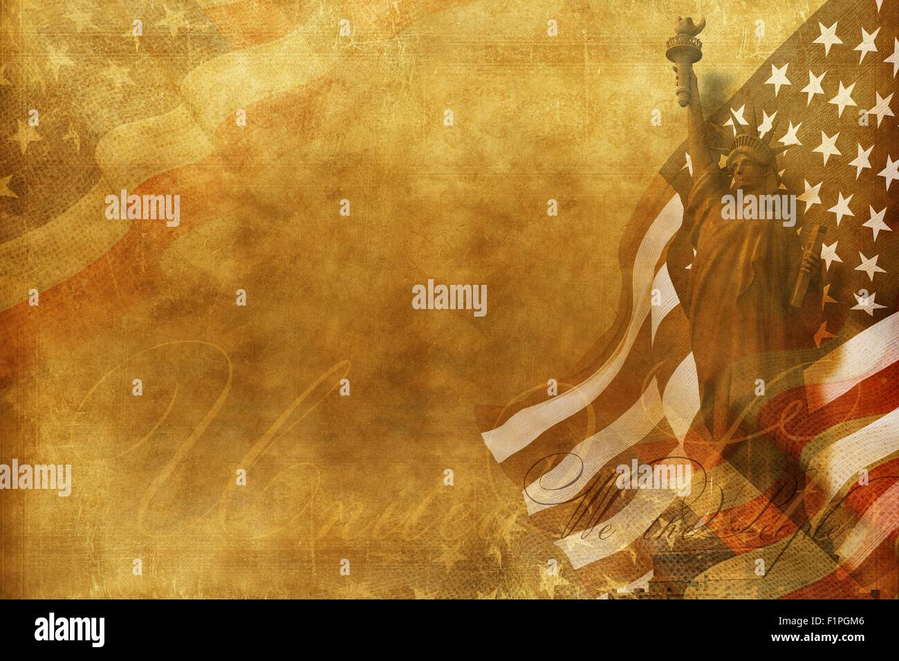 We The People Old American Background With Statue Of