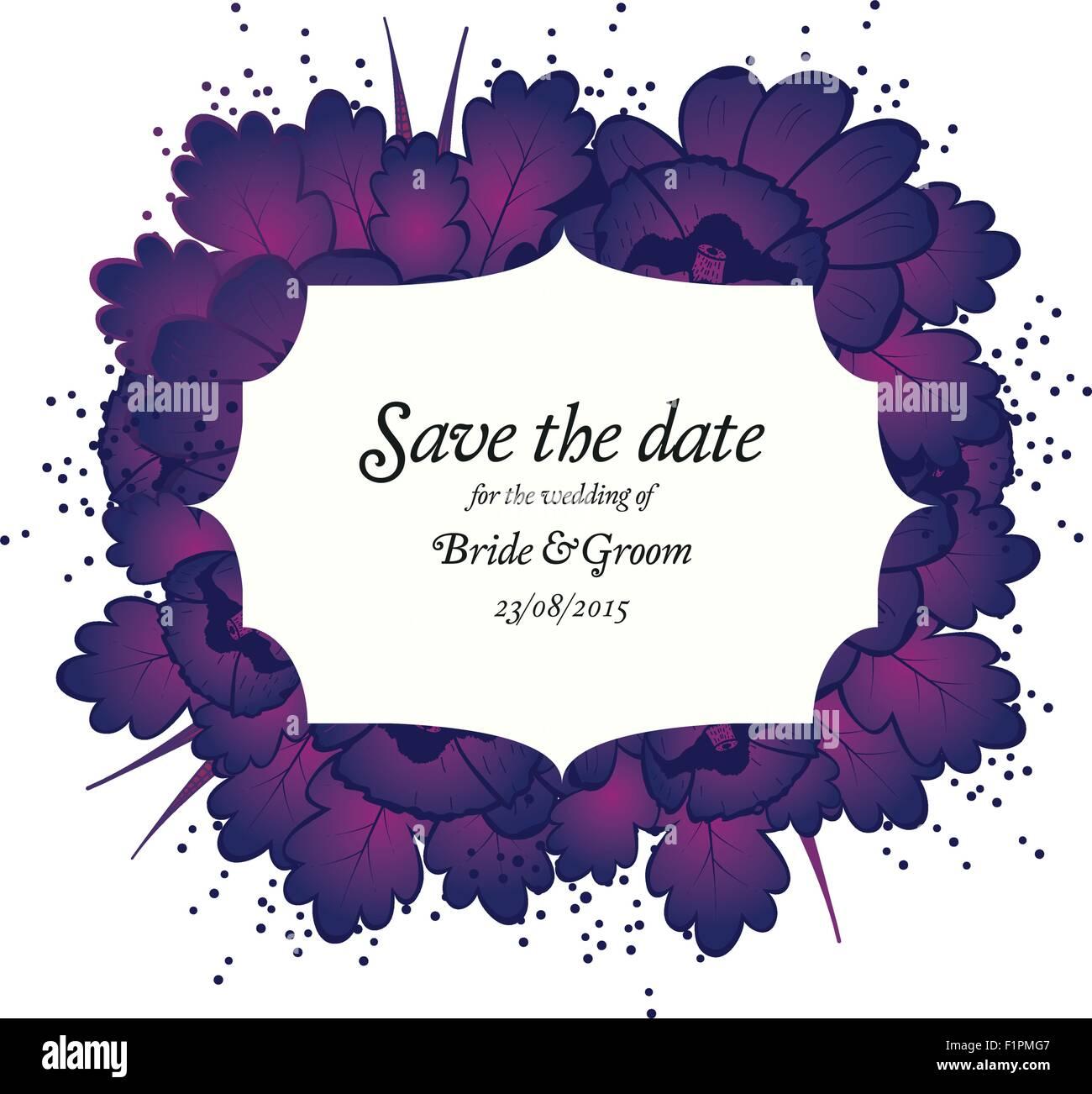Wedding Invitation Card With Purple Flowers Vector Illustration
