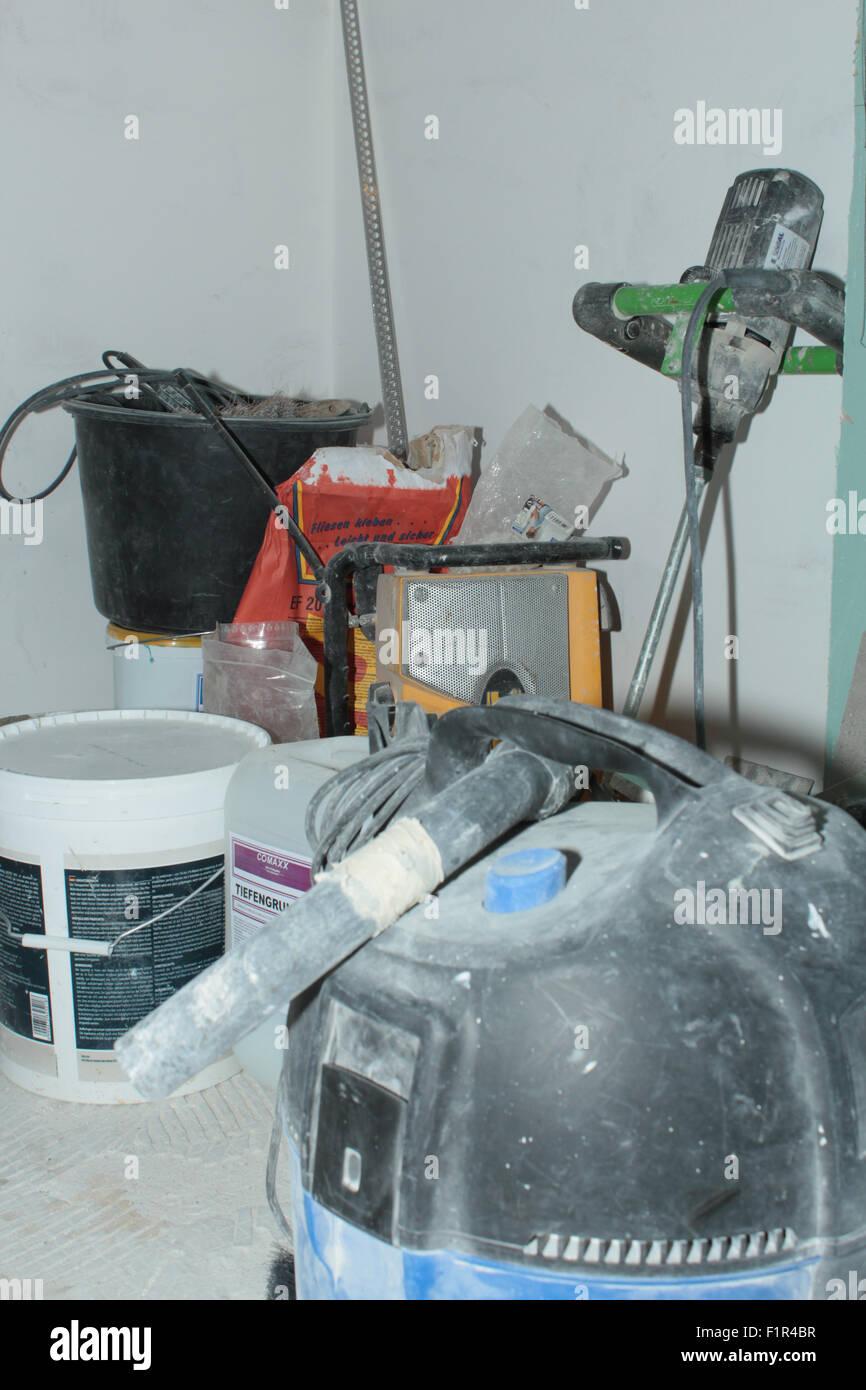 renovierung, sanierung, baustelle, badezimmer stock photo, royalty