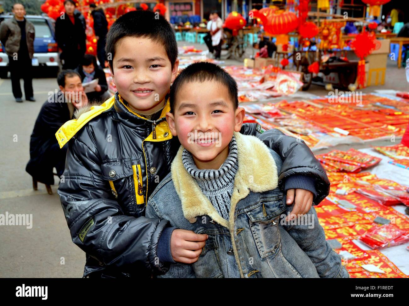 Pengzhou China Two Chinese Boys Are All Smiles In Long Xing  # Bois En Chaene