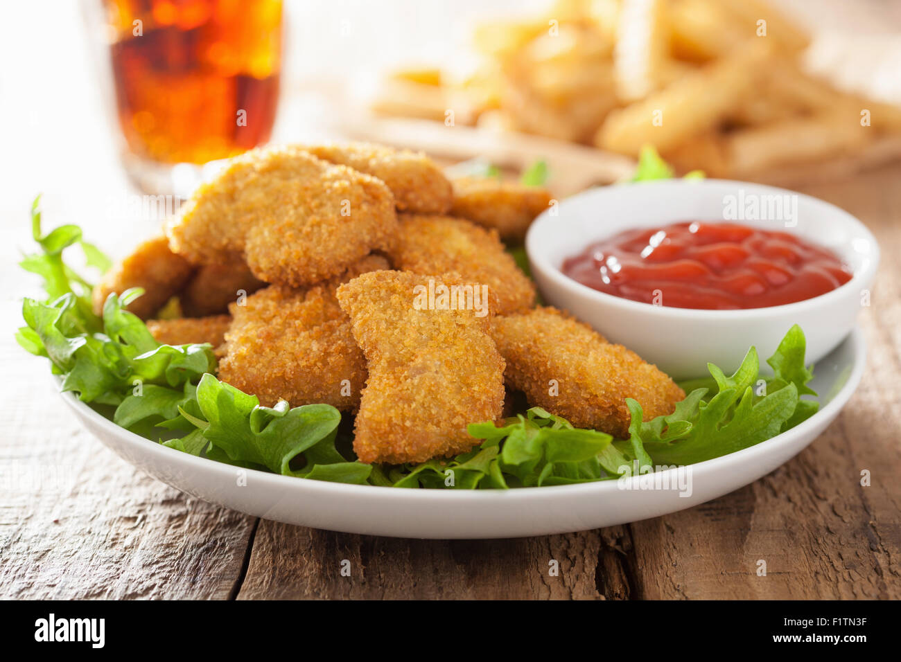 Fast Food Chicken Nuggets With Ketchup French Fries Cola